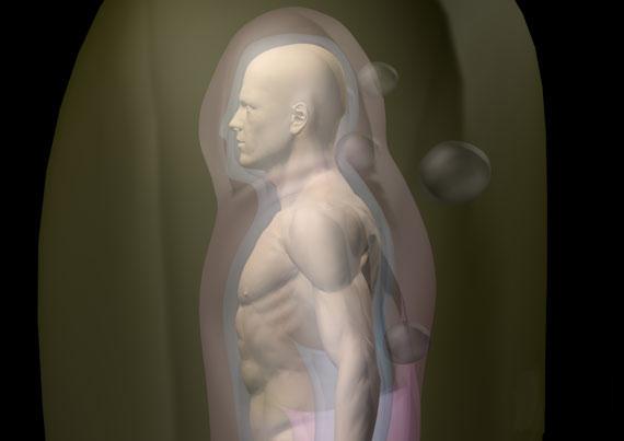 desenho de perfil de um corpo humano, com os ovóides (esferas ovoidais) presas em sem campo energético